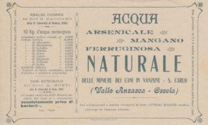 Etichetta acqua Vanzonis