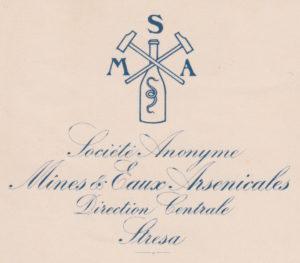 Logo S. A. Miniere e Acque Arsenicali 1909